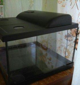 Террариум стеклянный с крышкой и подсветкой
