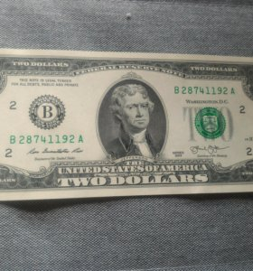 Редкая купюра, 2 доллара сша