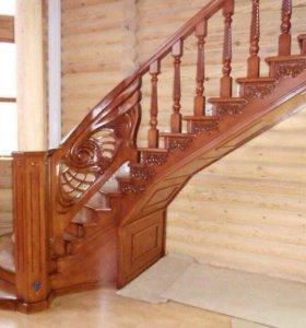 Лестницы и все из дерева по персональным эскизам.