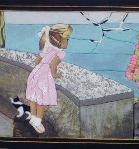 """Картина """"девочка и море"""" в технике кинусайга"""