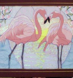 """Картина """"фламинго"""" 64х48 в технике кинусайга"""