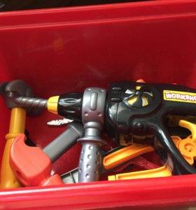 Дрель игрушка+ ящик с инструментами