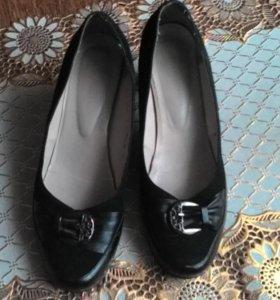 Туфли летние, замша натуральная+кожа, б/у.