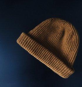 Вязаная шапка (кустошка, бини) шерстяная (меринос)