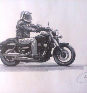 рисунки мотоцикла Honda