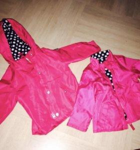 Куртка 2в1 ветровка и куртка на Флисе 18м