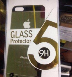 Стекла на Iphone5 золото