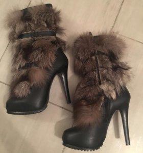 Зимние сапоги кожаные с мехом