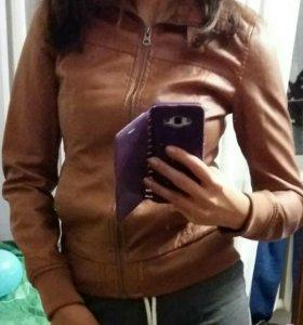 Куртка кожаная коричневая женская