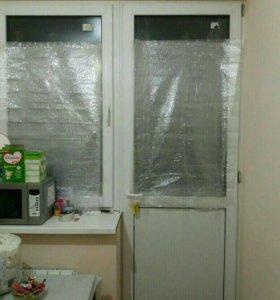 Пластиковые окно с дверью