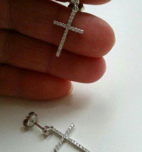 серьги крест,серебро 925