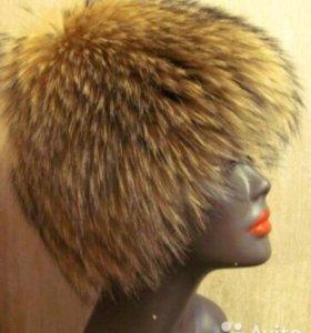 шапка из лисы вязанная