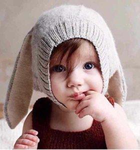 Детская шапка зайка