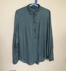 Женская рубашка темно-синяя в горошек р-р L