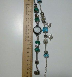 Часы и браслет в стиле Пандора