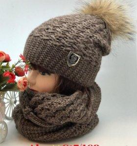 шапка+шарф набор