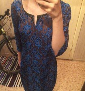 Сине-золотое вечернее платье