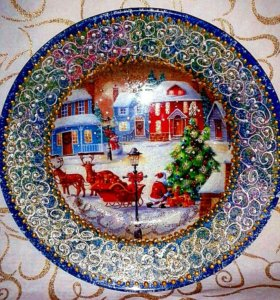 Новогодняя декоративная тарелочка