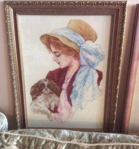 """Продам вышитую картину """"Дама с собачкой"""""""