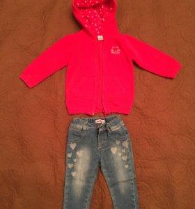 Толстовка и джинсы для девочки размер 74-80