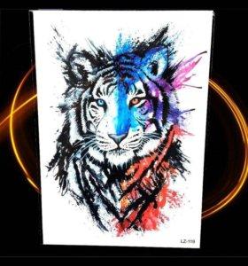 Тату переводное лев,тигр,сова