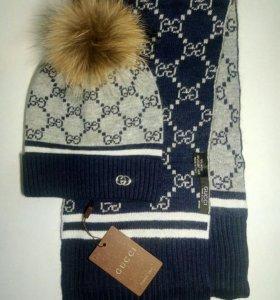 Gucci шапка + шарф