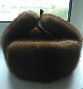 Норковая мужская шапка-ушанка б/у.