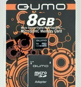 Карта флэш-памяти MicroSD 8 Гб Qumo +SD адаптер