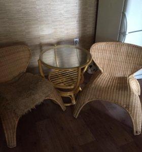 Кресла и столик,ротанг