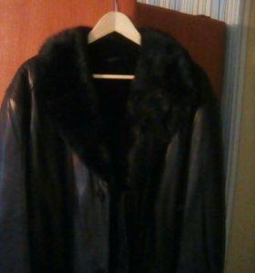 Кожаная куртка на меху,56р
