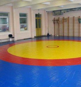 Борцовский ковёр 7х7 трёхцветный тройка