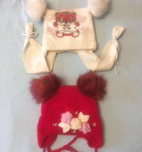 Зимние шапки на девочку 4-5 лет