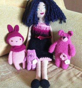 Кукла, зайчик, медведь и кот