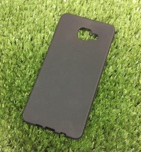 Силиконовый матовый чехол Samsung A7 2016 черный