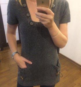 Кофта - платье серое шерстяное