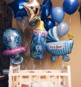 шары - оформление шарами выписки из роддома