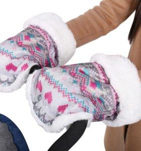 Рукавицы для санок и колясок вязанный розовый