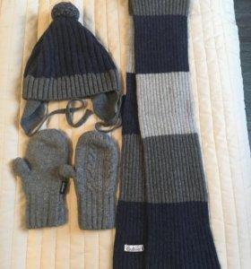 Комплект шапка,шарф и варежки