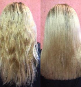 Полировка волос+подравнивание+обработка маслом