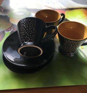 Сервиз набор 6 чашек, блюдца и кувшин для сливок
