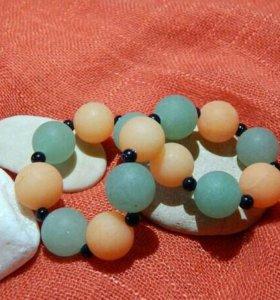 Браслет из натуральных камней (нефрит, агат)