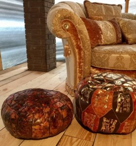 Кожаный пуф , тканевый диван класса люкс