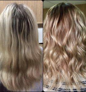 Мелирование/окрашивания/полировка волос/