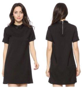 Черное платье с кожаным воротником