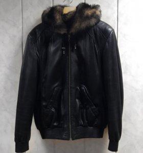 Кожаная зимняя куртка, р 50