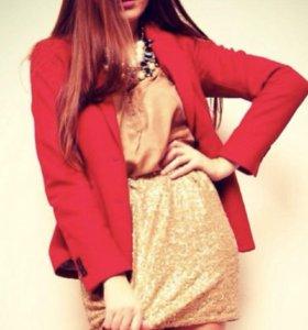 Мини юбка с золотистыми пайетками