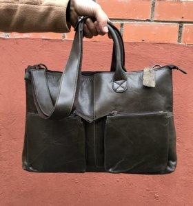 Мужская кожаная сумка, новая