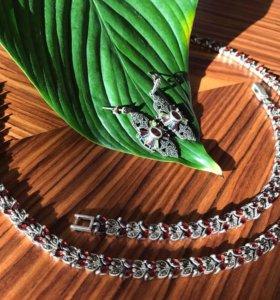 Антикварное серебряное колье, браслет и серьги