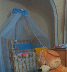 Кроватка+4борта+балдахин+матрас,наматрасник+одеяло