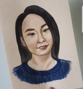 Портрет акварелью A4